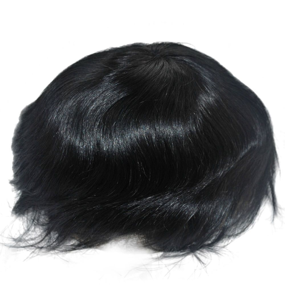 Stock Jet Black Toupee For Men Mens Human Hair Hairpiece System Lace Front Hair Pieces Hair Human Hair