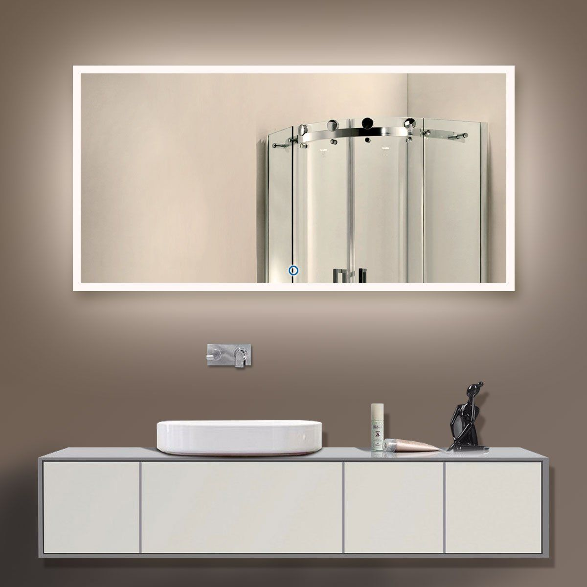 Dp Home Large Horizontal Rectangle Mirror Led Illuminated Backlit Wall Mount Bathroom Vanity Mir Bathroom Mirror Backlit Bathroom Mirror Modern Bathroom Design