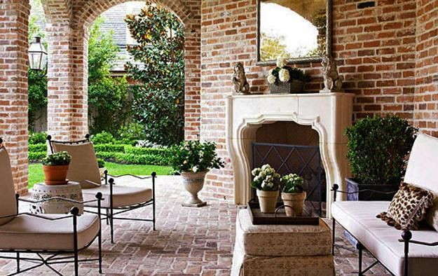 Fireplace built with stone in outdoor rooms