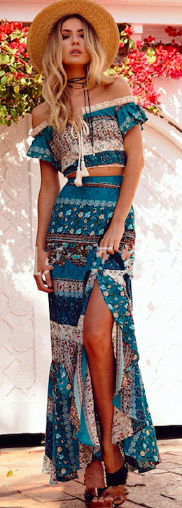 Off The Shoulder Bohemian Top And Skirt Two Pieces Set