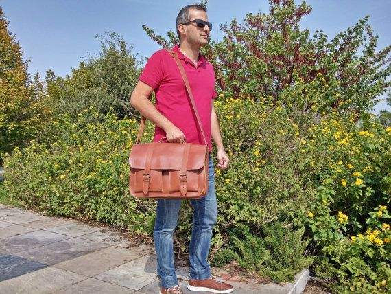 Brown Leather Messenger Bag  Men's Leather by LeatherStrata