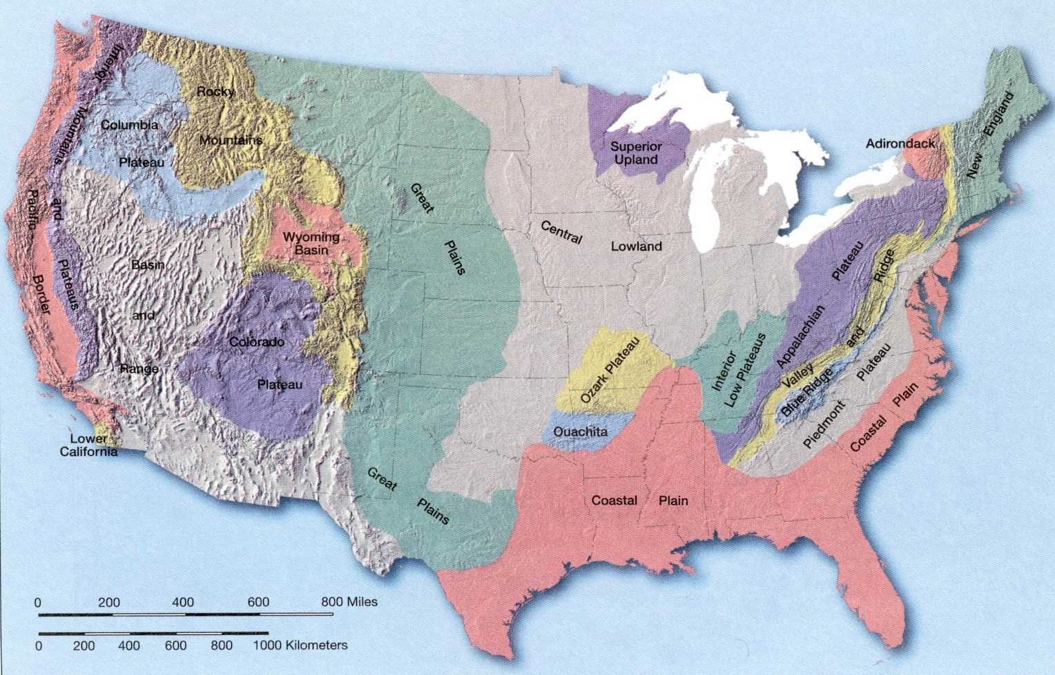 Blank Landform Map Of United States For Kids