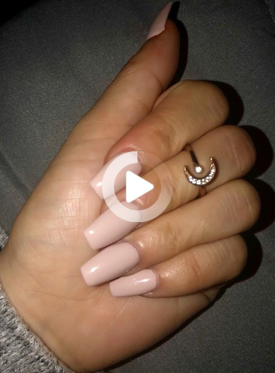 Nude color Gel Polish DND Coffin nails