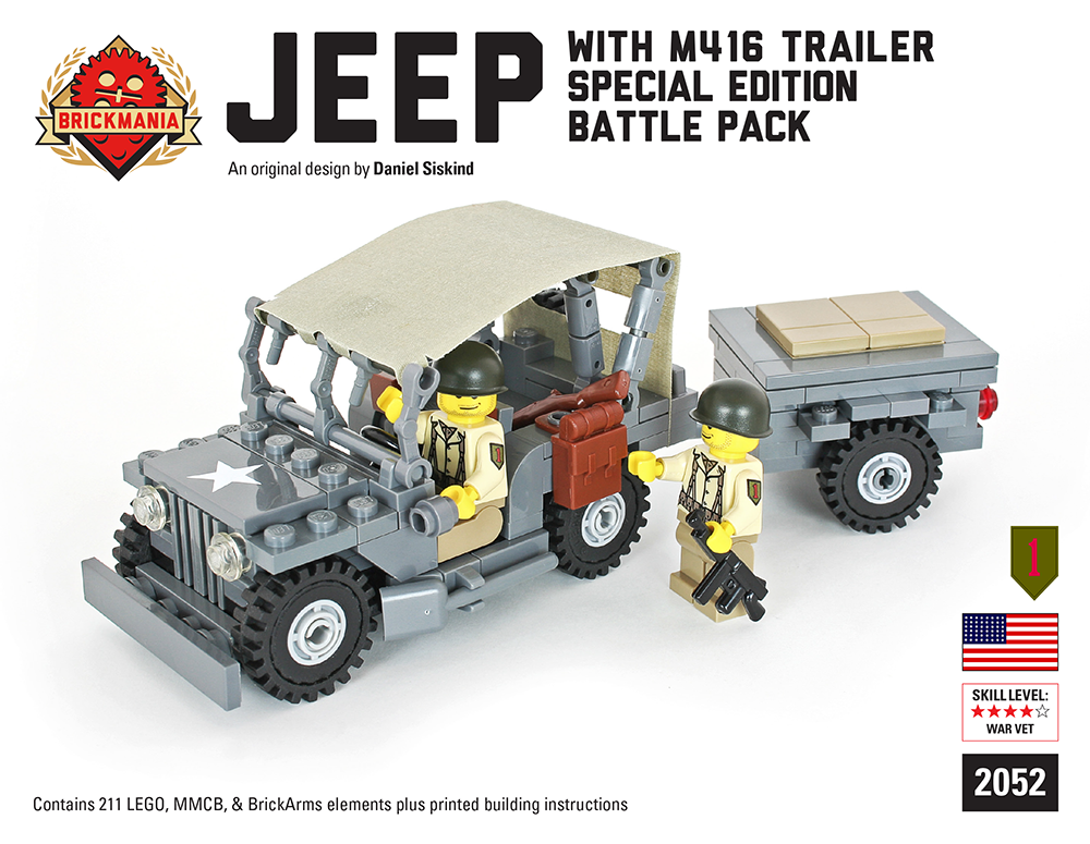 Brickmania - Jeep with M416 Trailer Battle Pack | lego | Lego truck