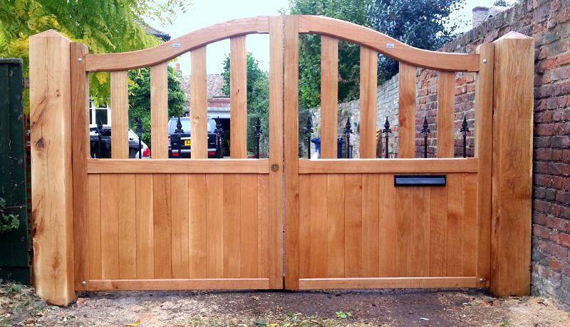 Custom Oak Driveway Gates Fully Installed Wooden Gates