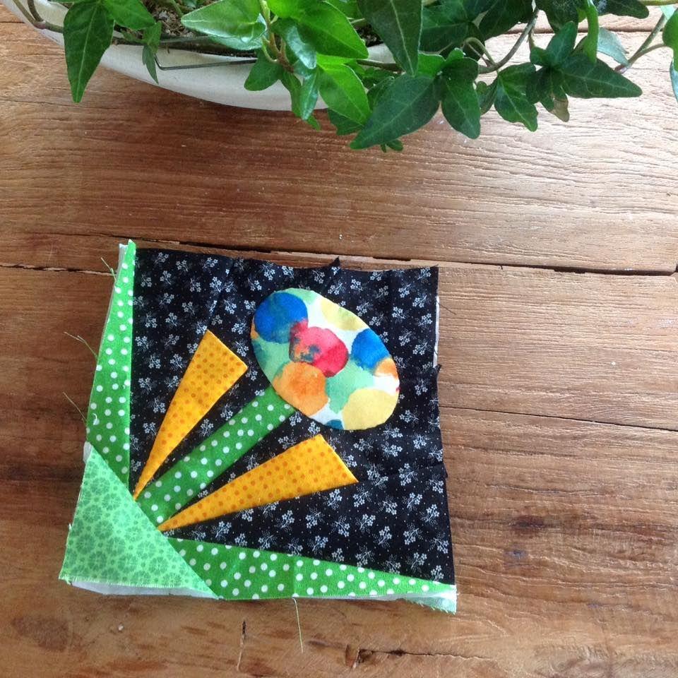 patchwork block flower