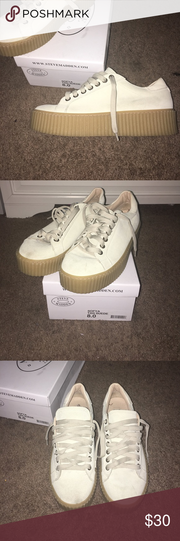 Steve Madden Tan Suede Sofya Shoes! Worn three times, size 8.0 , good condition, minor smudges on front of shoe. (barley noticeable) Steve Madden Shoes Sneakers