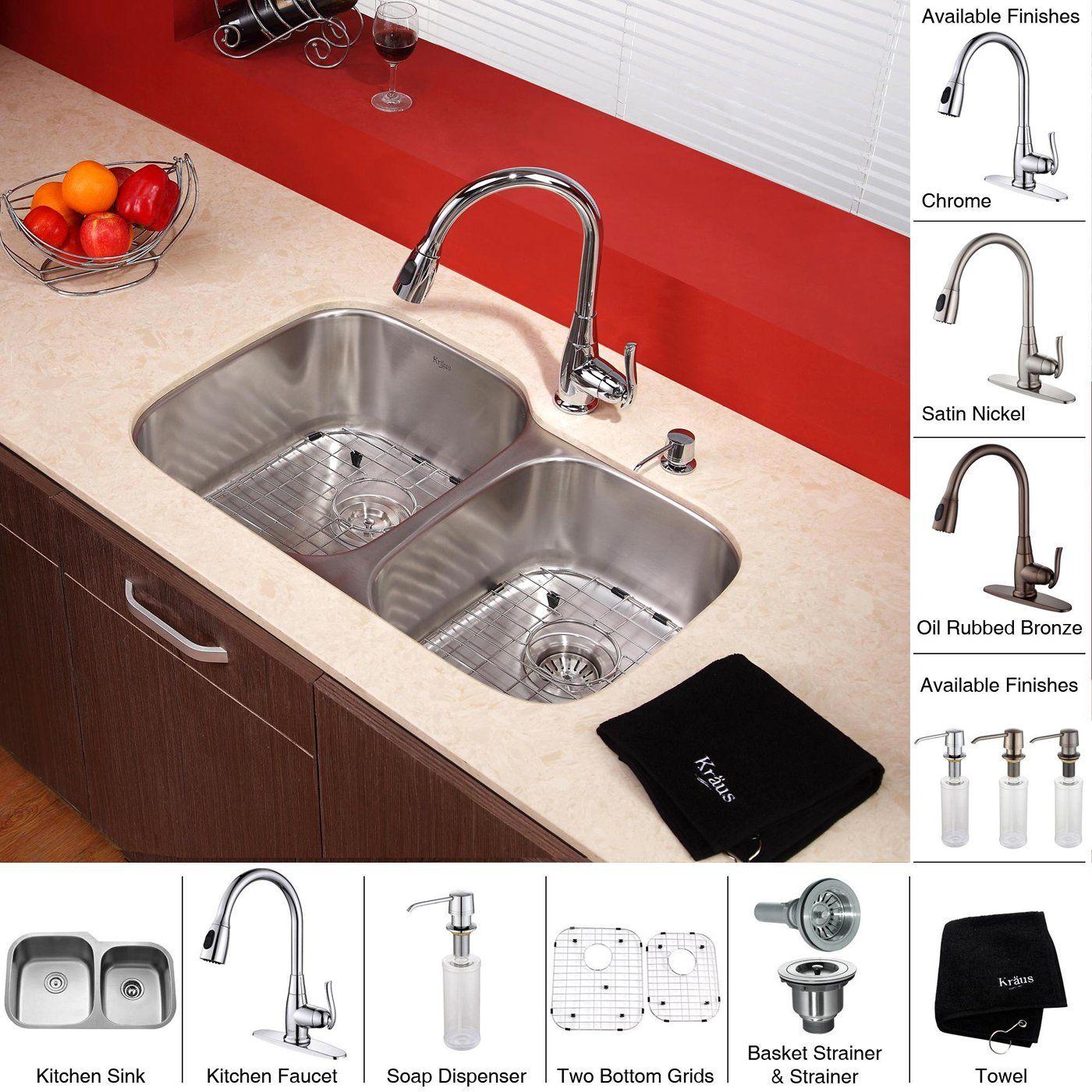 Kraus Kbu24 Kpf2230 Ksd30sn 32 In Undermount Double Bowl Stainless Steel Kitchen Sink With Chrome Kitch Sink Stainless Steel Kitchen Sink Chrome Kitchen Faucet