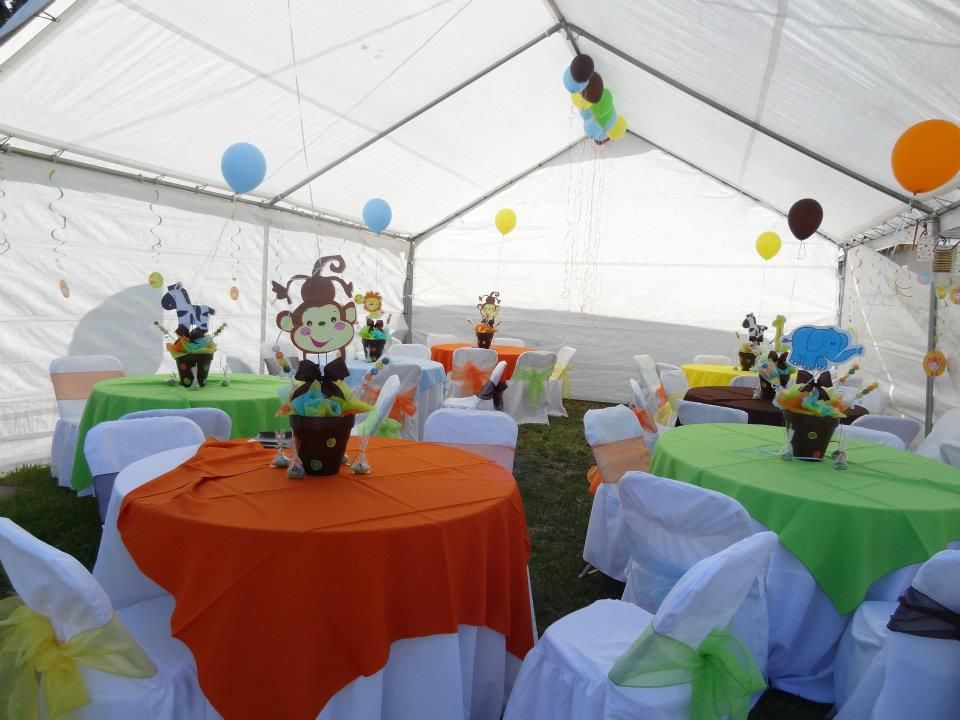 party creations jungle themed and table linen for baby shower