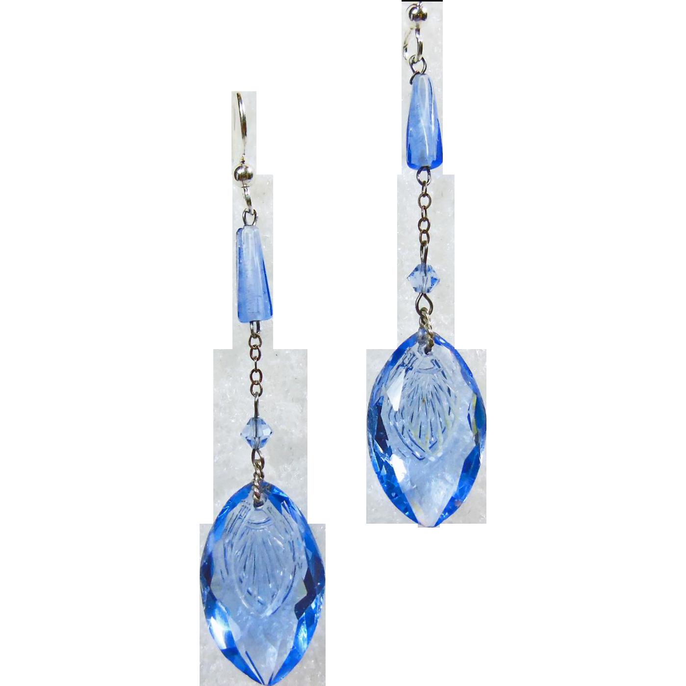 Vintage jewelry Vintage earrings Vintage jewellery Blue earrings.