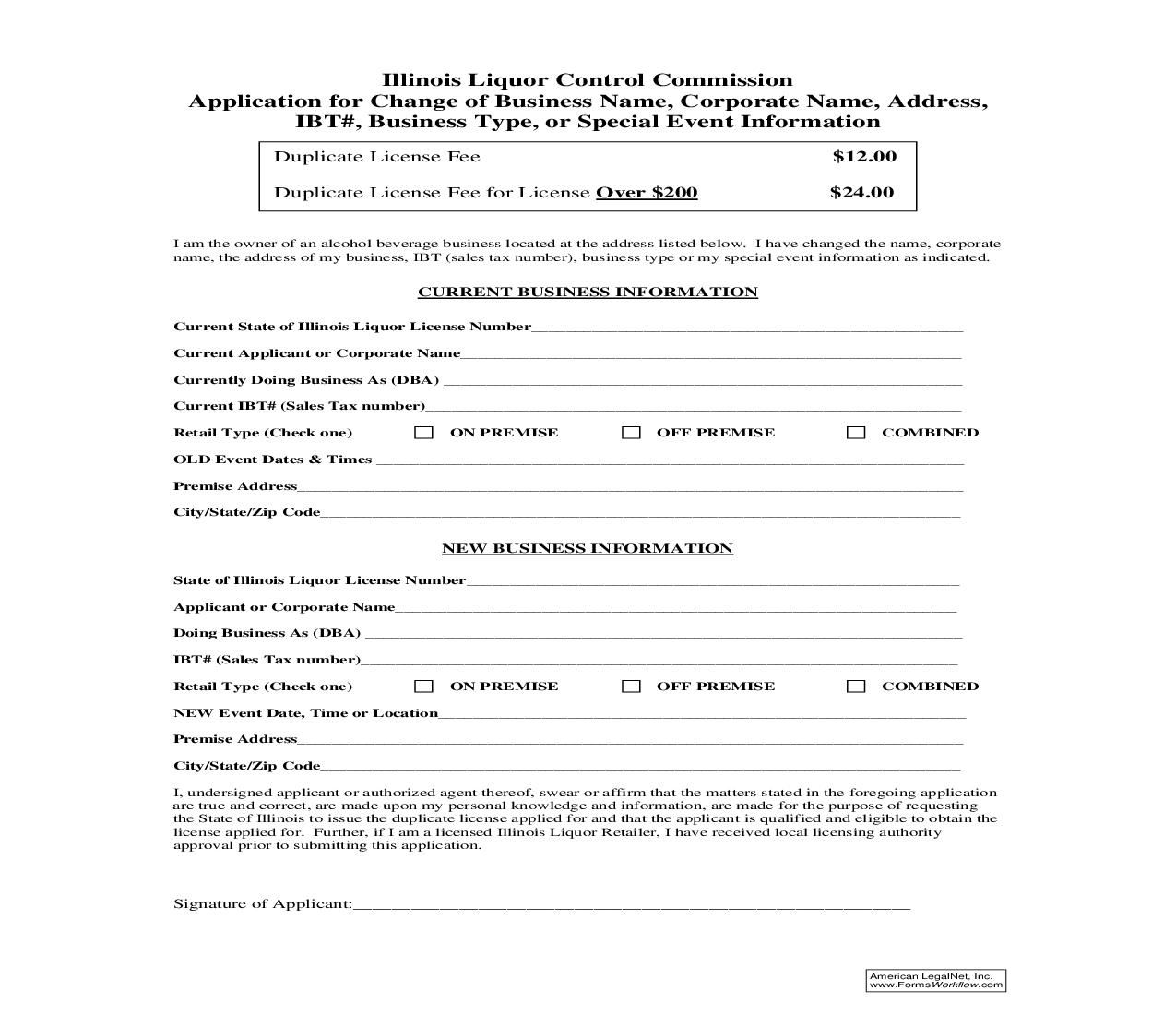 This Is A Illinois Form That Can Be Used For Liquor Control