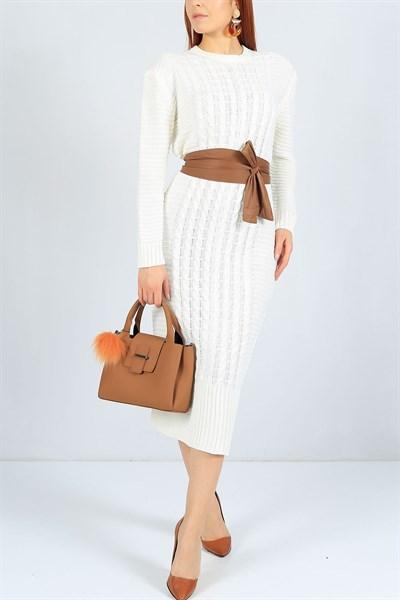39 95 Tl Selanik Orme Beyaz Triko Elbise 23260b Modamizbir Moda Stilleri Elbise Kazak Elbise