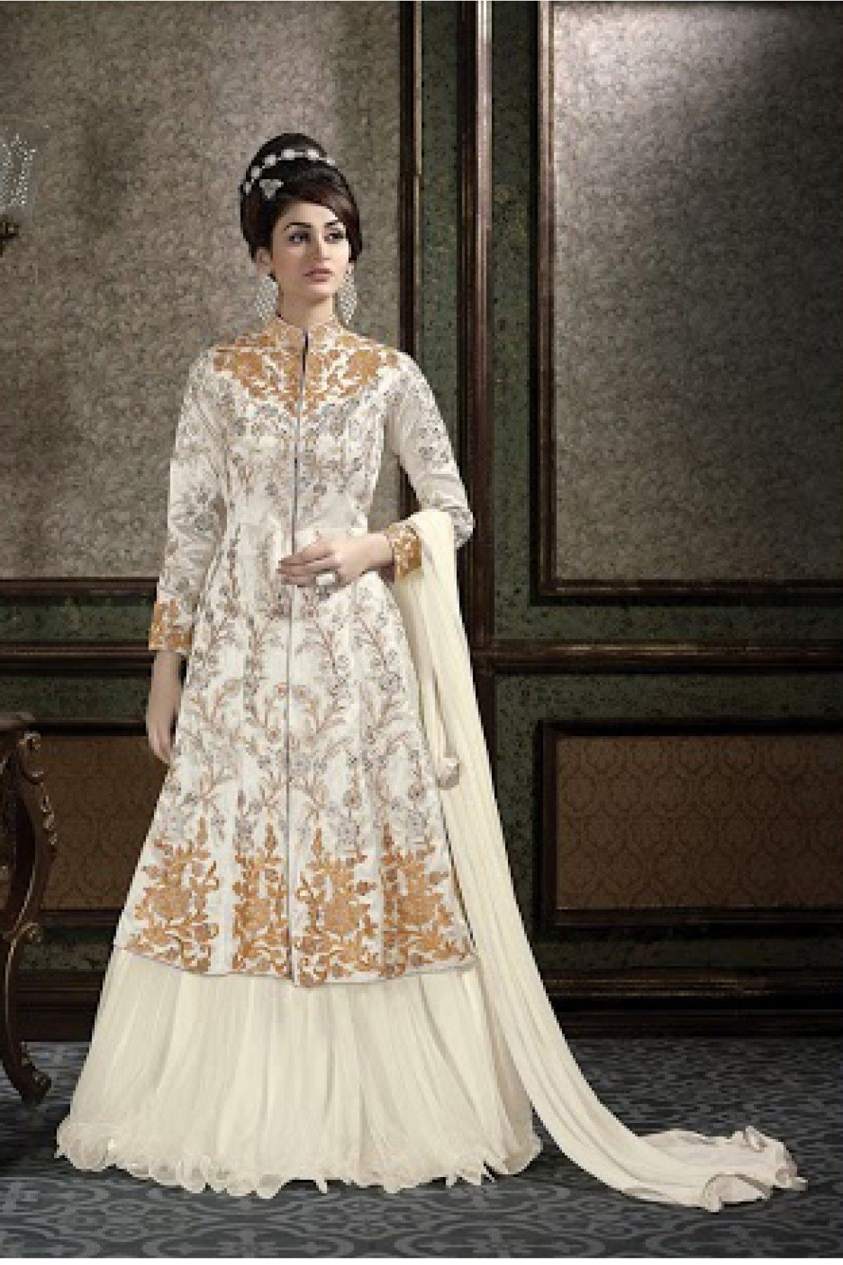 2a0405c1ee8 Silk Party Wear Lehenga Suit in White Colour