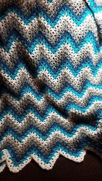 Easy V Stitch Crochet Ripple Afghan Free Pattern Ripples