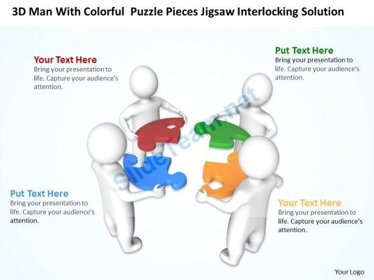 3d Men With Colorful Puzzle Pieces Jigsaw Interlocking Solution Ppt