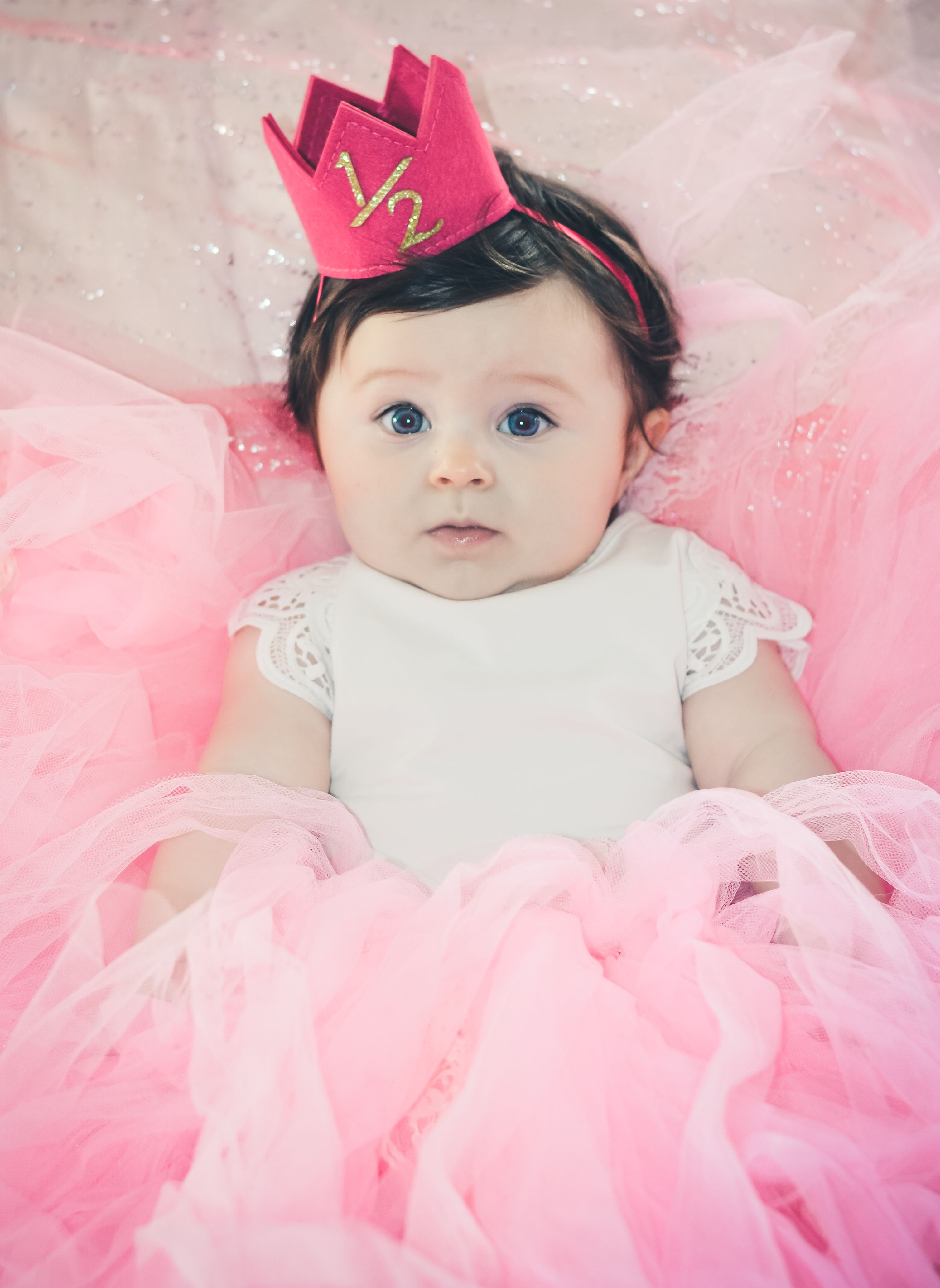 year milestone indoor natural light photography month crown half  old pink and gold tutu tulle princess all the way blue eyes lace also birdy boutique on pinterest rh