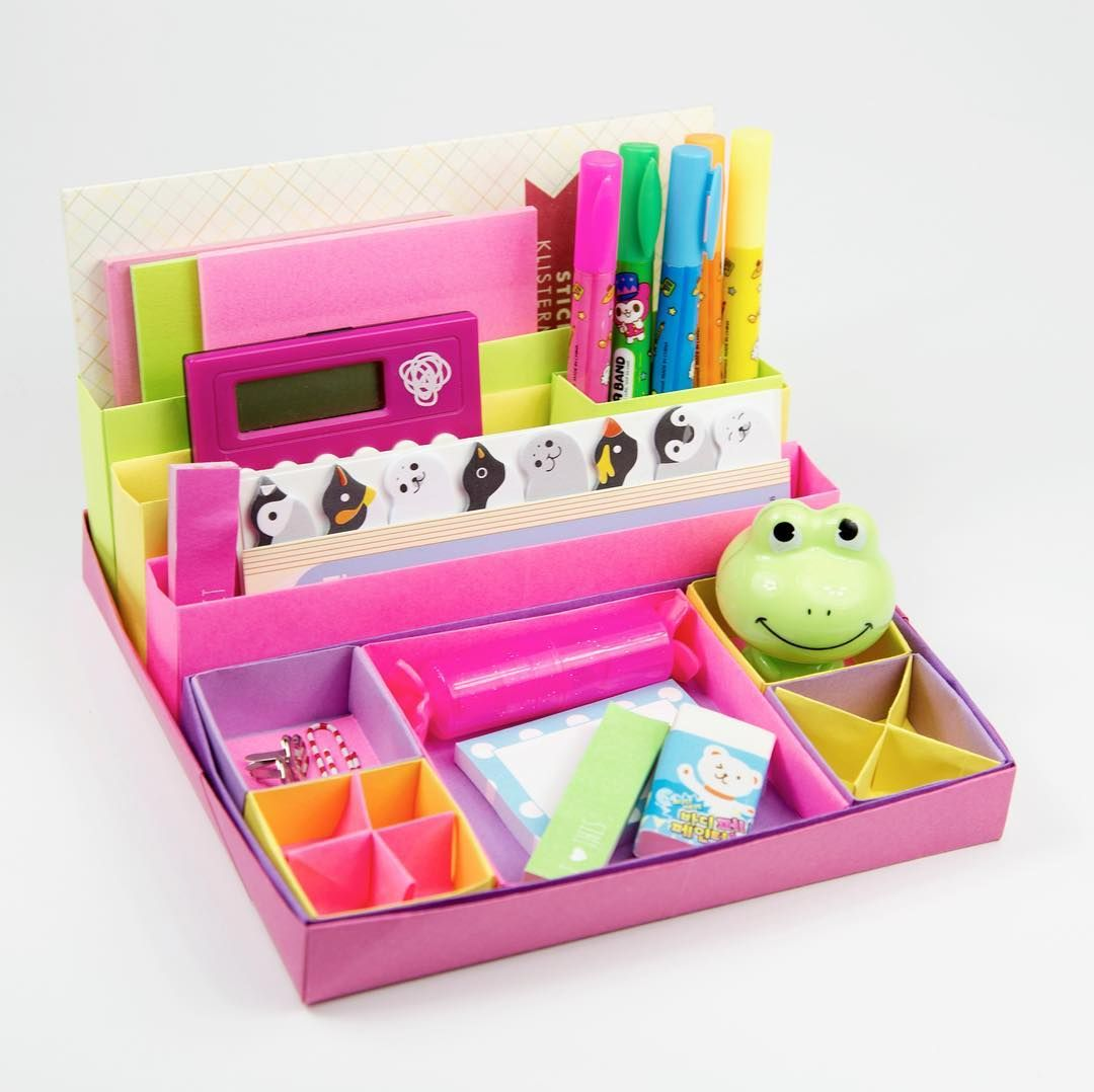 Make A Useful DIY Origami Desk Organiser With 10 Boxes No Glue Required Use These Nested For Stationary Makeup Or Jewellery