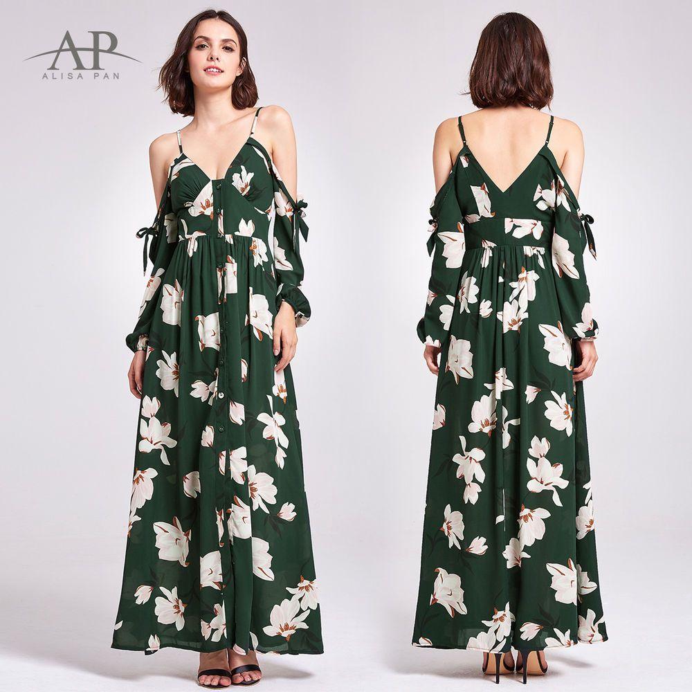 c67491517fa92 Alisa Pan Maxi Summer Dresses Cold Shoulder Floral Casual Party Dress 07178