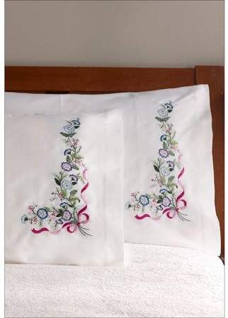 Bucilla Stamped Embroidery Pillowcase Pair 20