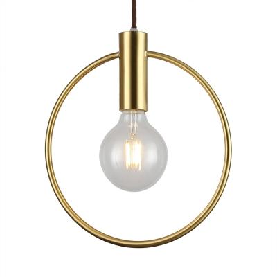 Open Bulb Hanging Light With Brass Ring Bedroom Single Modernism Metal Pendant Light Metal Pendant Light Hanging Lights Pendant Light