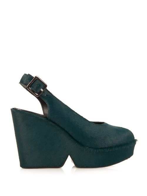 Robert Clergerie Dylan Calf Hair Wedge Sandals | Shoes and Footwear