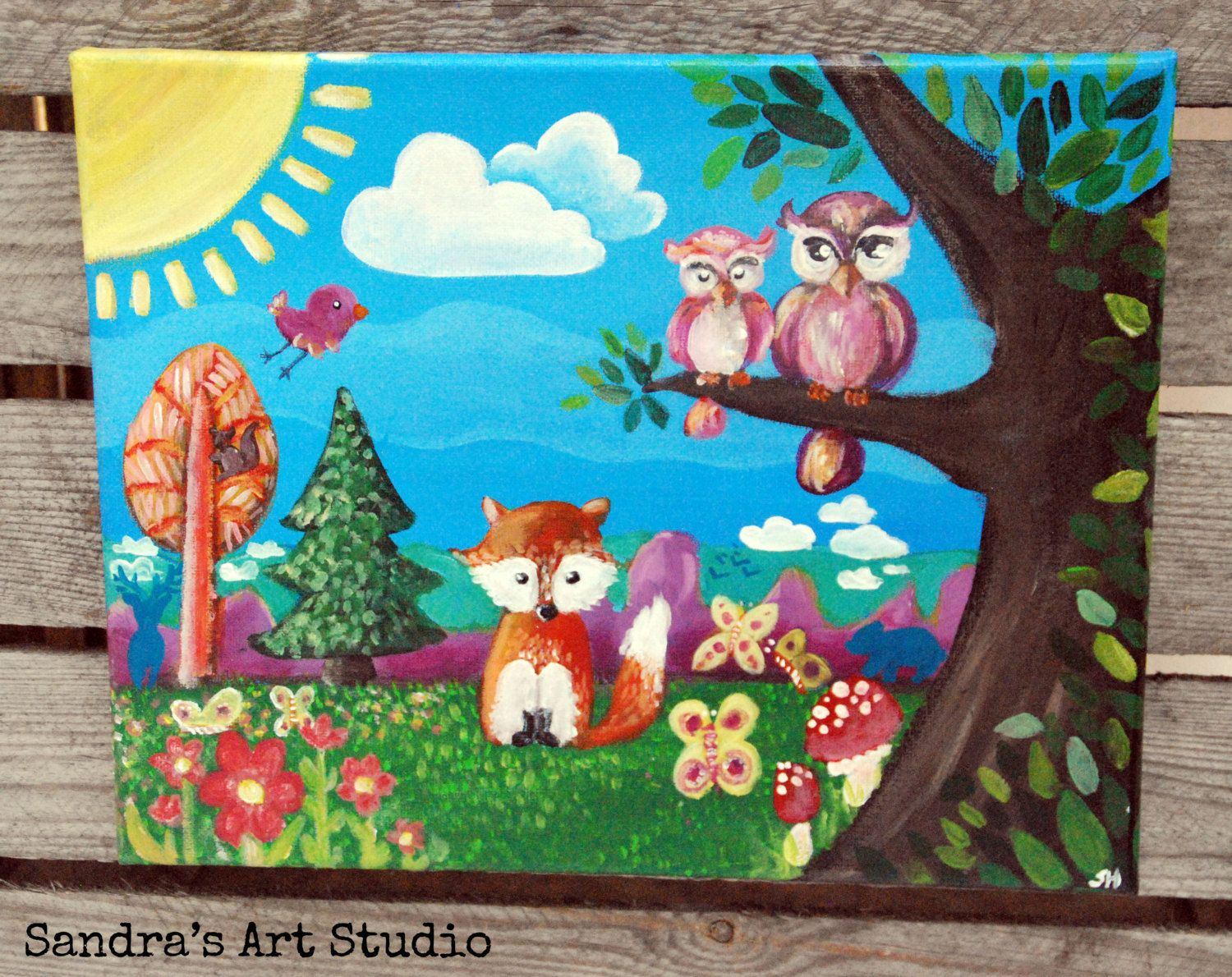 whimsical forest animals painting made with acrylic paint on canvas great for a kids bedroom or nursery 9 716 x 11 1316