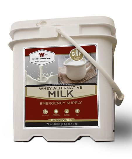 Wise Company Whey Alternative Milk Bucket Kit | zulily.With up to 120 servings included, this bucket of powdered whey alternative milk allows little ones to keep on growing strong bones even during an extended camping trip or power outage at home.