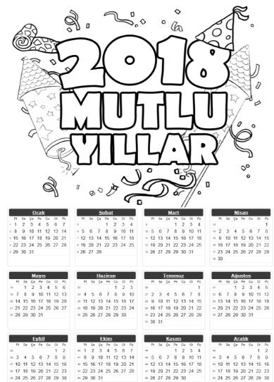 2018 Tek Sayfa Takvimleri Okuloncesitr L Preschool Okul Okul Oncesi Okuma