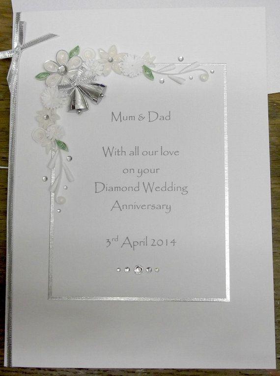 60th Diamond Wedding Anniversary Card Personalised Handmade