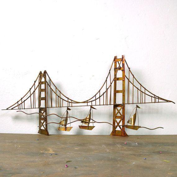 60s Golden Gate Bridge Metal Sculpture Mid Century By