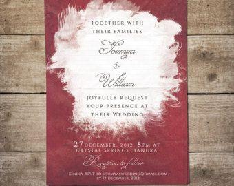 Burgundy Wedding Invitation, Watercolor Wedding Invitation, Marsala Wedding Invite, Printable Wedding Invitation - Red, Crimson, Wine