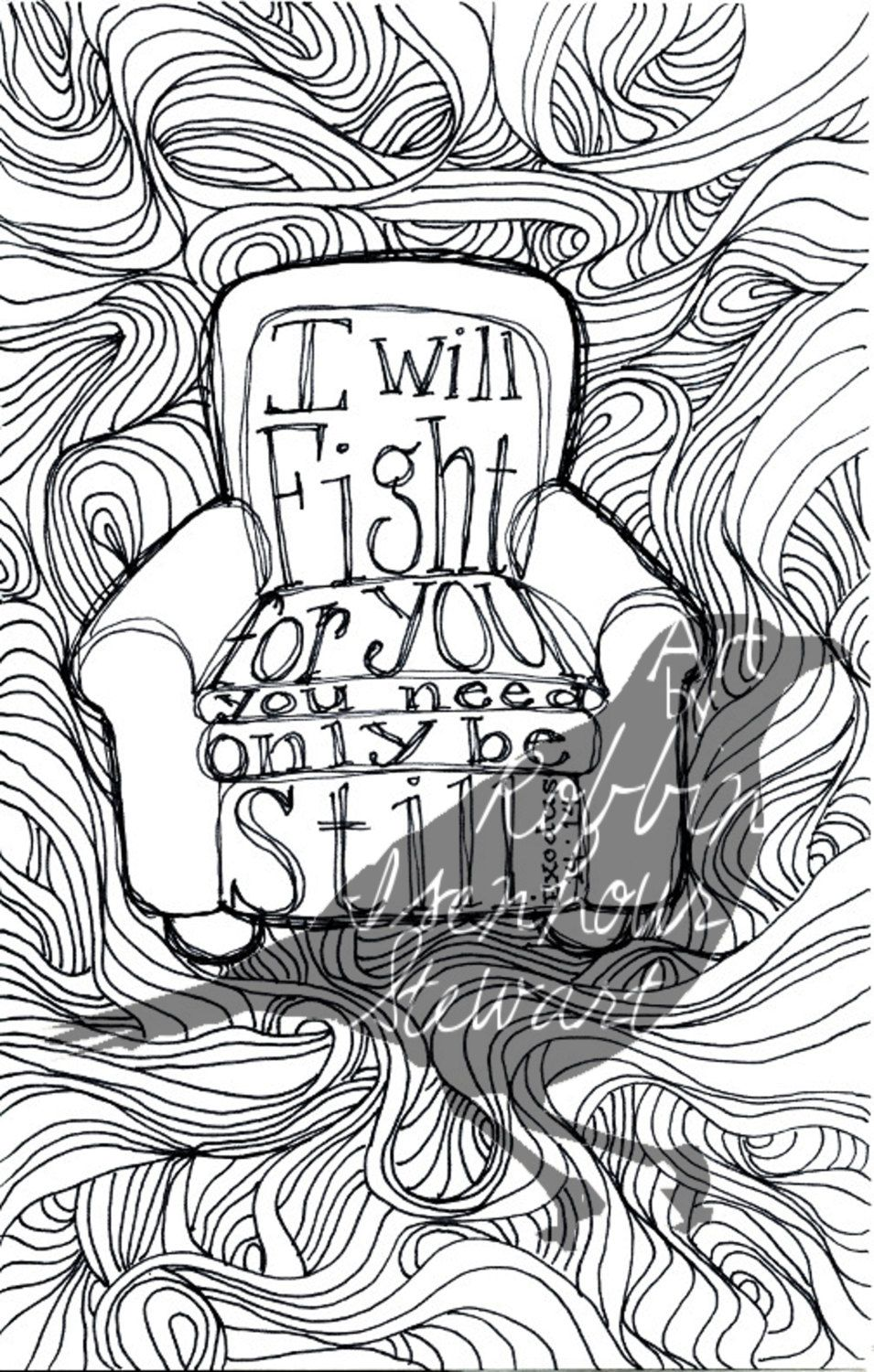 Printable scripture coloring page adult exodus zentangle