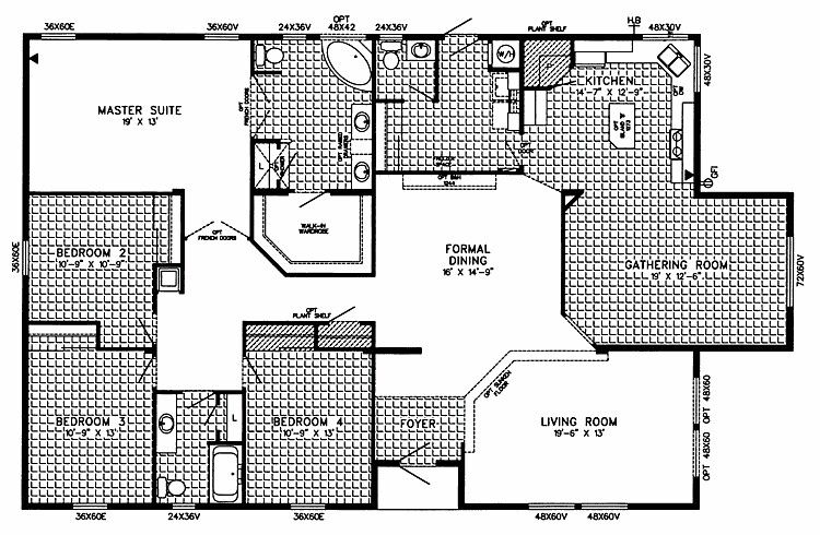 This Has A Nice Layout Rooms On One Side And Everything For Company On The Oth Mobile Home Floor Plans Modular Home Floor Plans Manufactured Homes Floor Plans