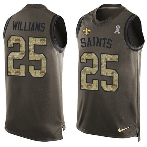 Men's Nike New Orleans Saints #25 P. J. Williams Limited Green Salute to Service Tank Top NFL Jersey