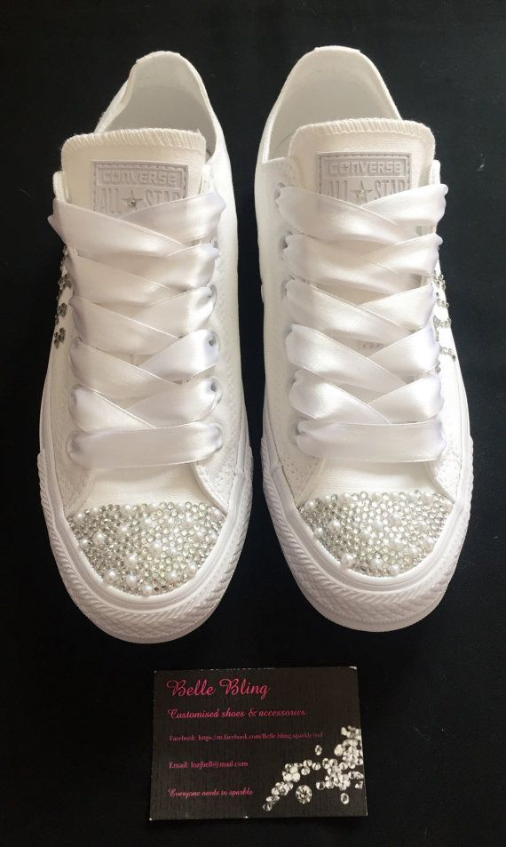 Wedding Bridal Customised Mono Converse Pearls And Crystals Bling