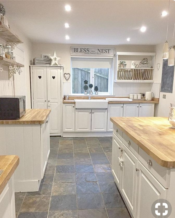 Stone Floors Wood Countertops But Want Creamy Color Cabinets Kitchen Remodel Small Kitchen Design Kitchen Renovation