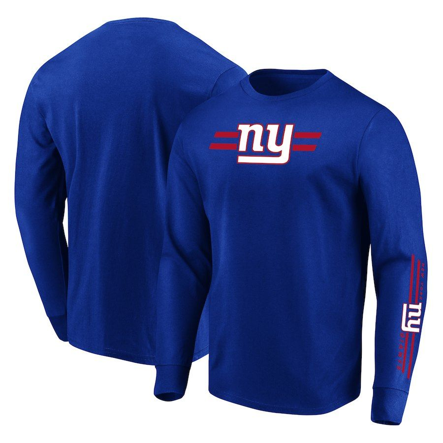 c69b57453c3 Men s New York Giants Majestic Royal Dual Threat Long Sleeve T-Shirt ...