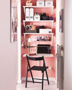 This is the perfect small office for those who have little room to work. As long as this space stays organized and clutter free, you will always have a little nook in which to work