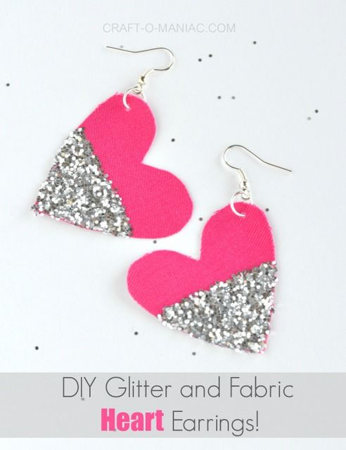 Diy Glitter And Fabric Heart Earrings Pinterest Fabric Hearts