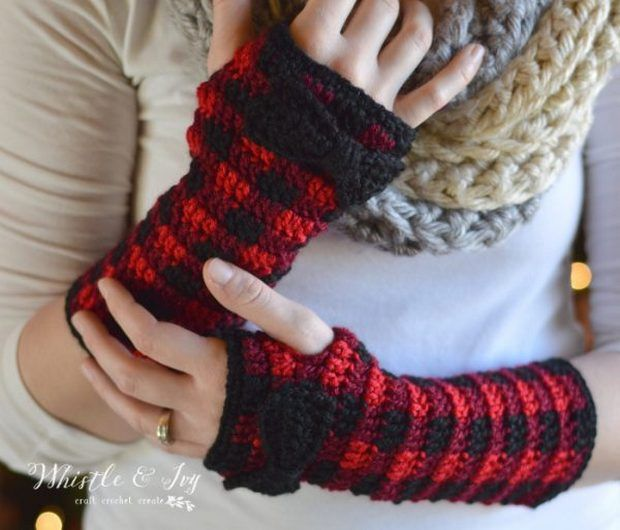 Crochet Plaid Arm Warmers | * Crochet Fingerless Gloves & Mittens ...