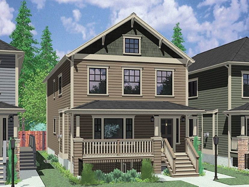 Eplans Craftsman Style House Plan Narrow Plan With Dual