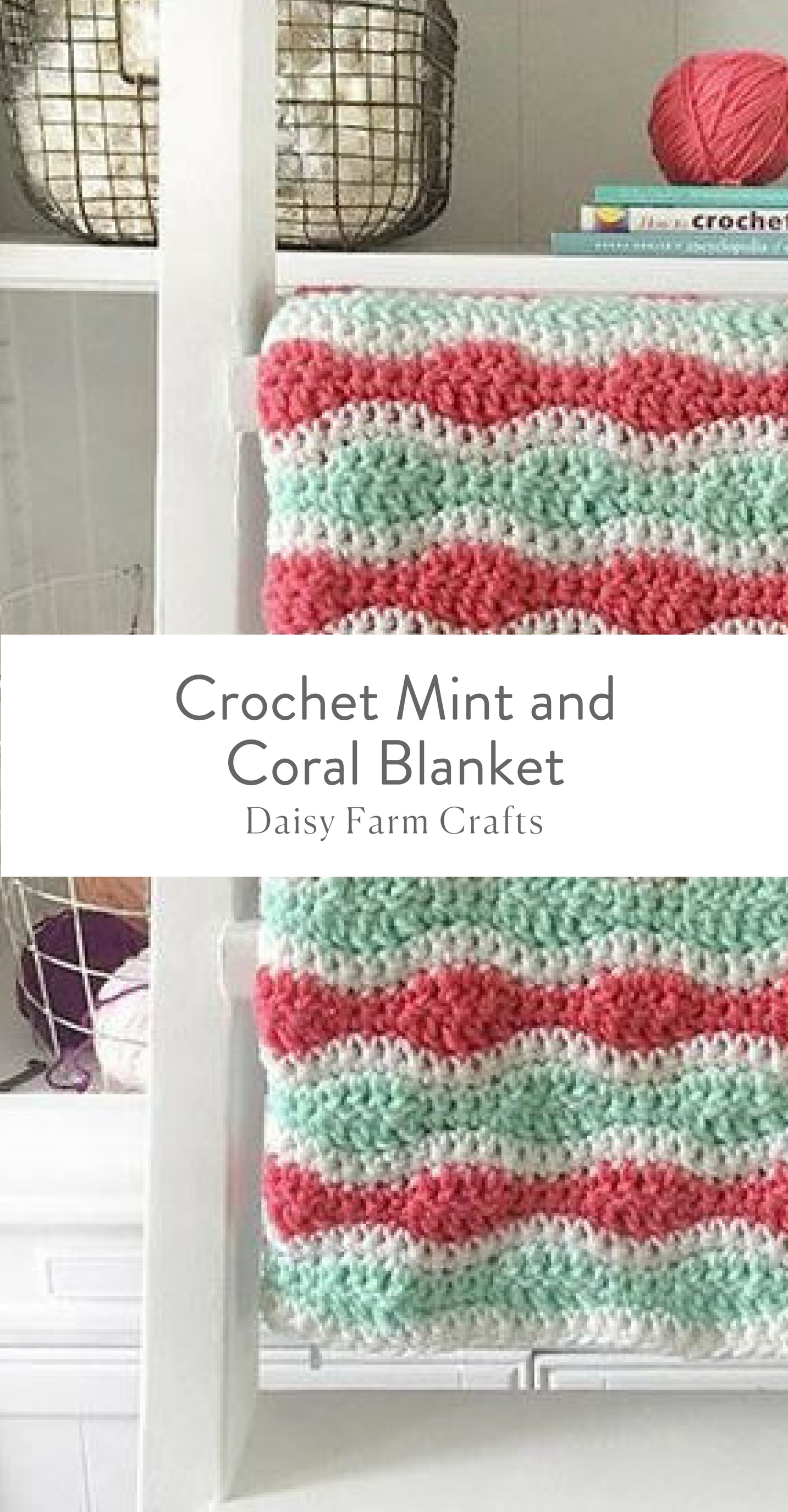 Free Pattern - Crochet Mint and Coral Blanket | crafts | Pinterest ...