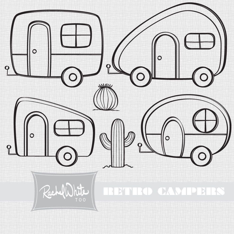 Retro Campers Digital Stamp Set 550 Via Etsy