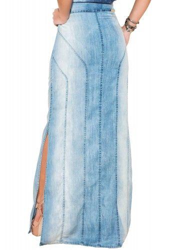 78c9ef87e saia longa jeans claro fenda lateral ziper frontal titanium viaevangelica  costas detalhe