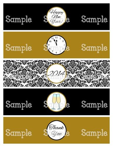 Printable MM Happy New Year Black  Gold Water Bottle Label Wraps