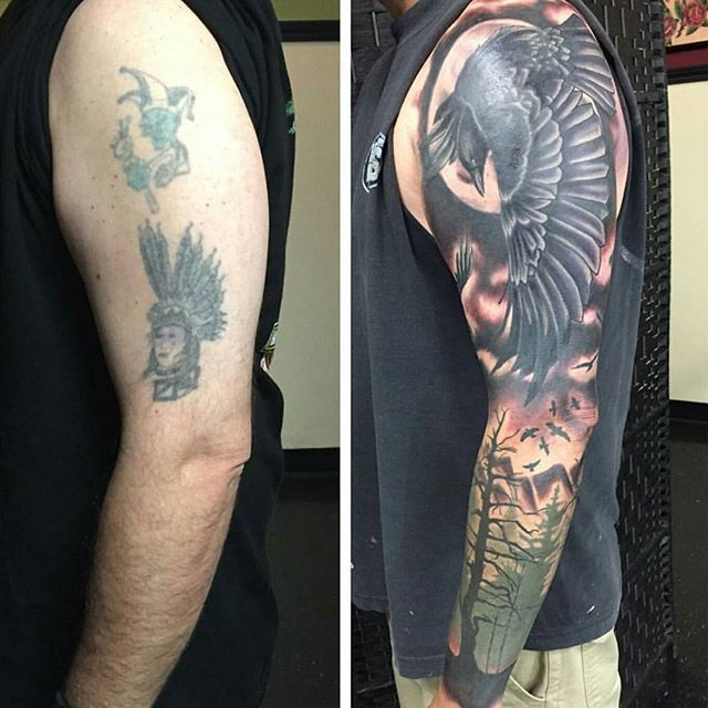 tattoos tribal tattoo sleeve arm incredible before designs coverup upper blackout covering limit ink instagram body sky crow