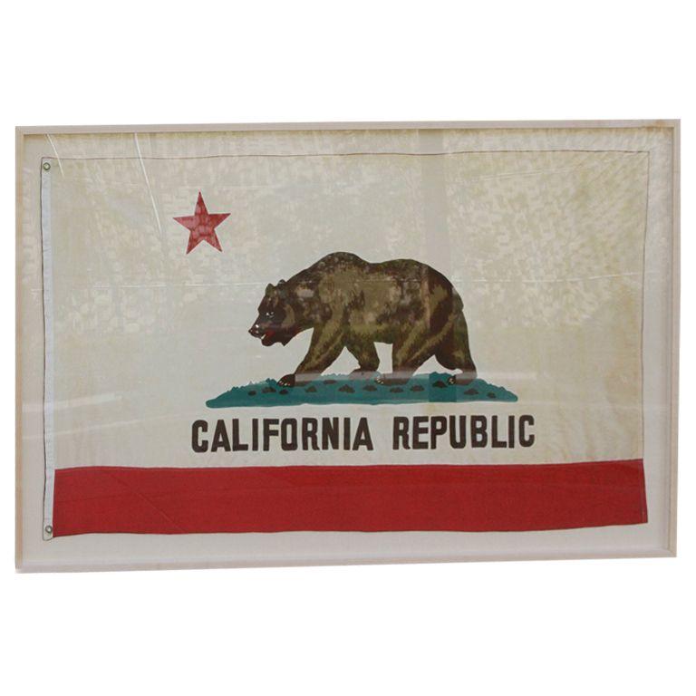 Framed Vintage California Republic Flag
