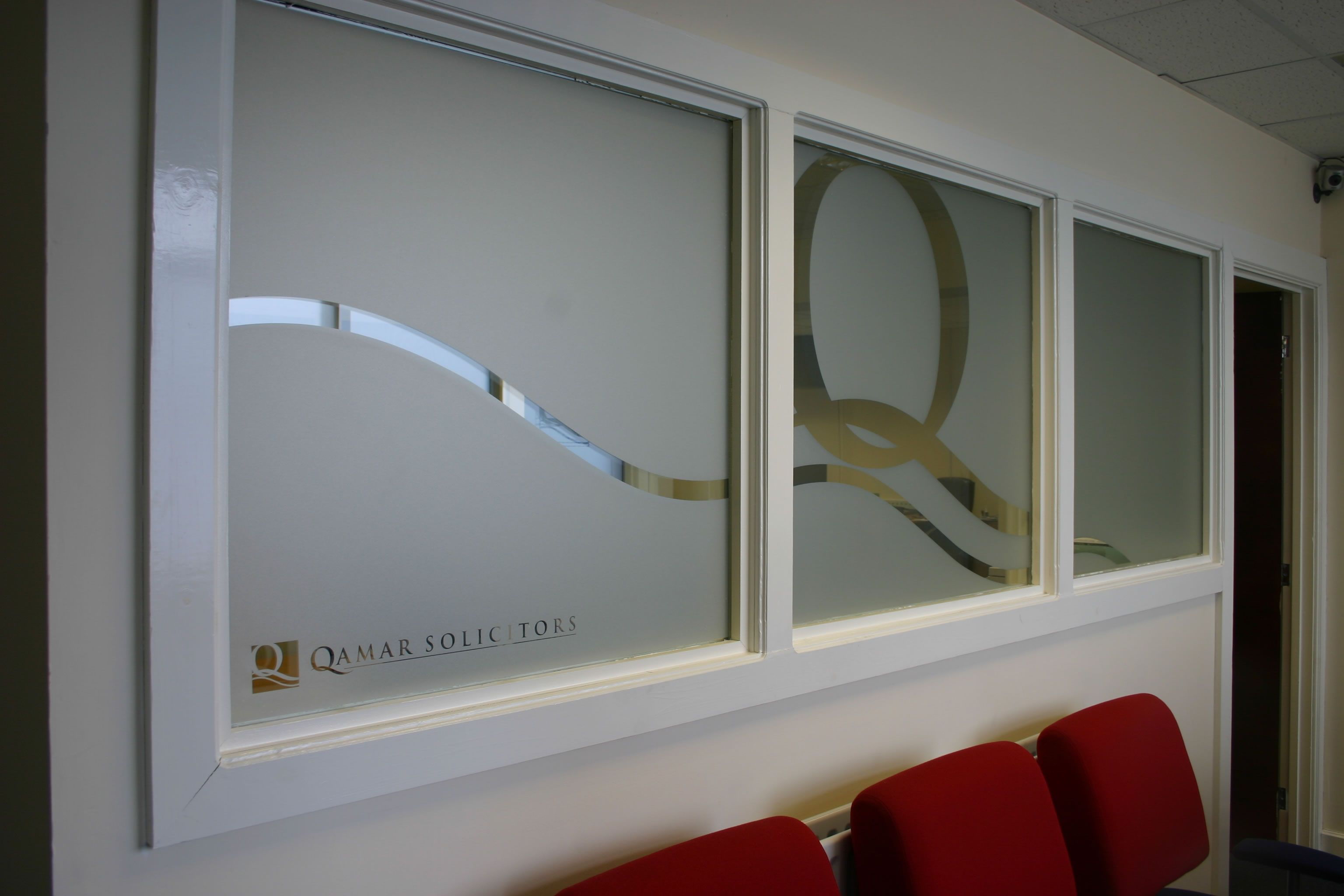 Printed etch designs for offices branding bespoke for Vinyl window designs