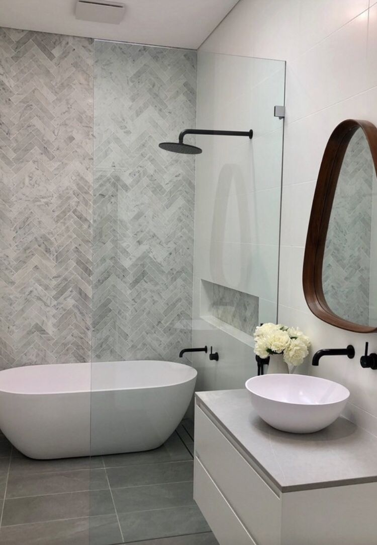 Herringbone Feature Wall Feature Wall Modern Small Bathroom Wet Room Set Up Bath In Shower Bathroom Freestanding Modern Small Bathrooms Bathroom Feature Wall