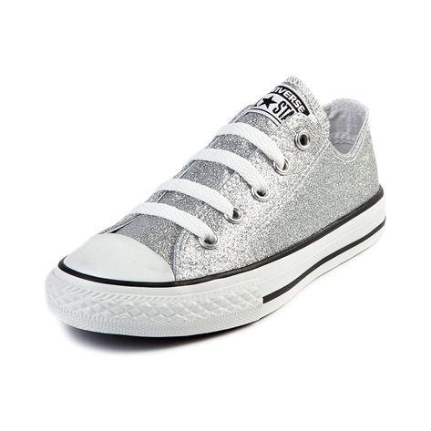 Youth Converse All Star Lo Glitter Sneaker Silver Glitter